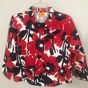 Ruby Rd. Crop Red, White, Blue Floral Jacket